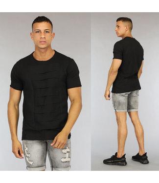 NEW0406 Zwart Heren T-Shirt met Banden