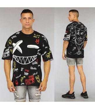 NEW0406 Zwart Oversized Graffiti Heren Tupac Shirt