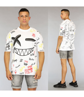NEW0406 Wit Oversized Graffiti Heren Tupac Shirt