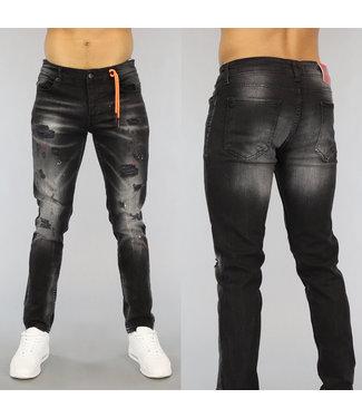 NEW0406 Zwarte Slim Fit Heren Jeans met Gaten en Verfspatten
