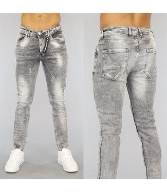 NEW0406 Grijze Ripped Heren Skinny Jeans met Wassing