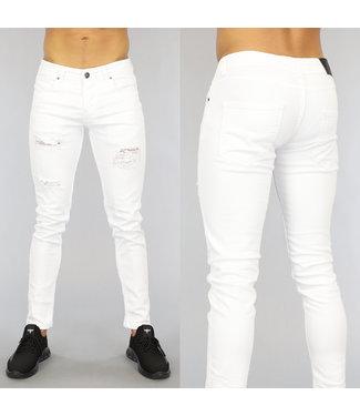 NEW0406 Witte Heren Skinny Jeans met Gaten