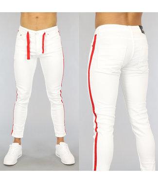 NEW0406 Witte Heren Skinny Jeans met Rode Details