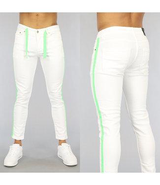 NEW0406 Witte Heren Skinny Jeans met Groene Details