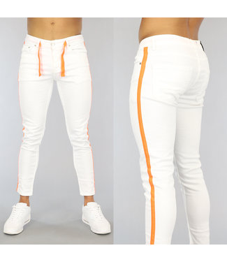 NEW0406 Witte Heren Skinny Jeans met Oranje Details