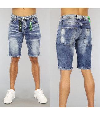 NEW0406 Old Look Heren Jeans Short met Groene Details