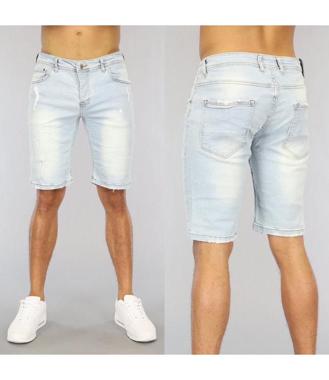 NEW0406 Lichtblauw Heren Jeans Short met Krassen