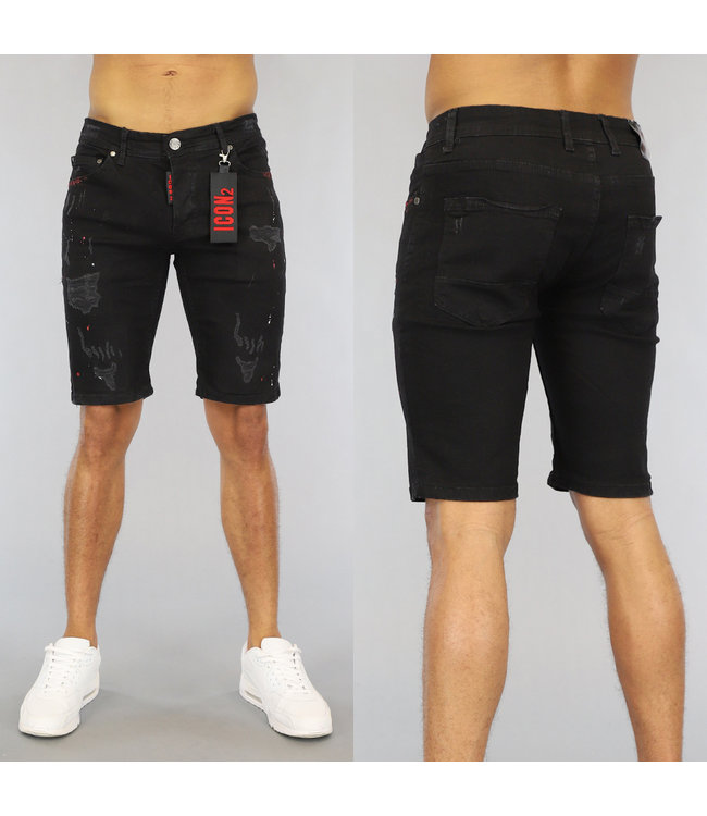NEW0406 Zwarte Ripped Heren Jeans Short met Rode Details