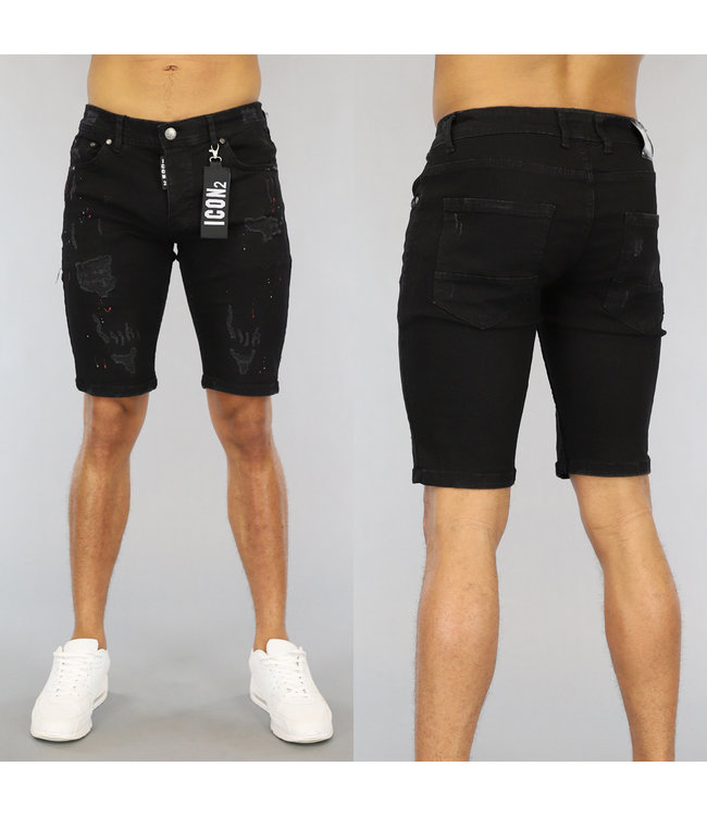 !SALE40 Zwarte Ripped Heren Jeans Short met Witte Details