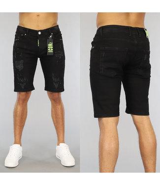 NEW0406 Zwarte Ripped Heren Jeans Short met Groene Details