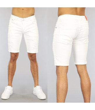 NEW0406 Wit Heren Jeans Short met Scheuren
