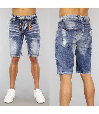 NEW0406 Old Look Heren Jeans Short met Oranje Details