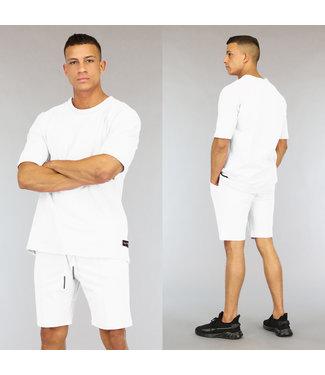 NEW0406 Oversized Witte Heren Short Set