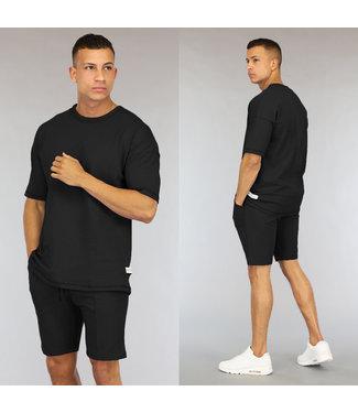 NEW0406 Oversized Zwarte Heren Short Set