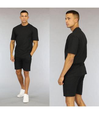 NEW0107 Basic Zwarte Heren Short Set