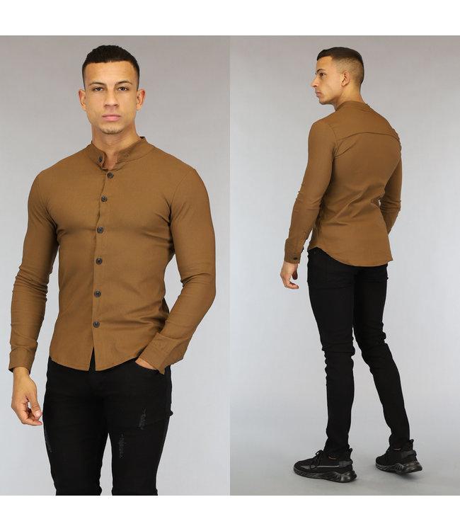 NEW0107 Camel Longsleeve Heren Overhemd met Stretch