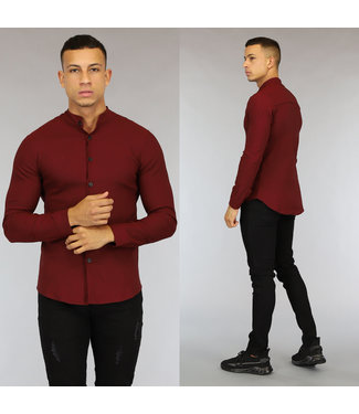NEW0107 Bordeaux Longsleeve Heren Overhemd met Stretch