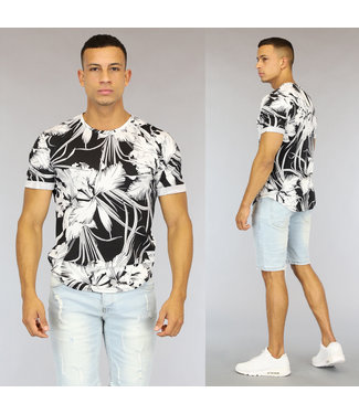 NEW0107 Zwart/Wit Bloemenprint Heren Stretch T-Shirt