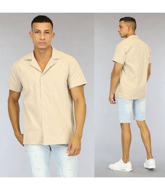 NEW0107 Beige Loose-Fit Heren Overhemd met Korte Mouwen