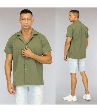NEW0107 Groen Loose-Fit Heren Overhemd met Korte Mouwen