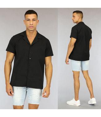 NEW0107 Zwarte Loose-Fit Heren Overhemd met Korte Mouwen