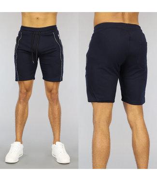 NEW0107 Donkerblauwe Heren Jogger Short met Zilveren Ritsen