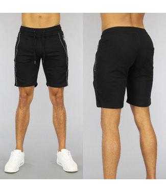 NEW0107 Zwarte Heren Jogger Short met Zilveren Ritsen
