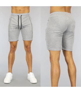 NEW0107 Grijze Heren Jogger Short met Zilveren Ritsen