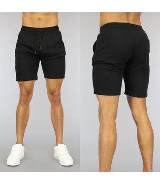 NEW0107 Basic Zwarte Heren Jogger Short