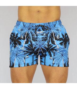 !OP=OP Blauwe Heren Swim Short met Palmbomen