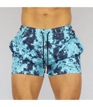 NEW0107 Blauwe Tie Dye Heren Swim Short