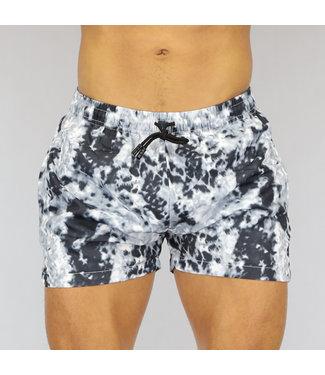 NEW0107 Zwart/Witte Tie Dye Heren Swim Short