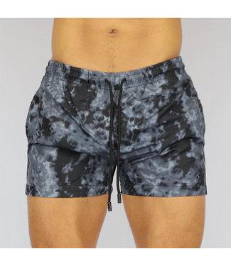 NEW0107 Zwarte Tie Dye Heren Swim Short
