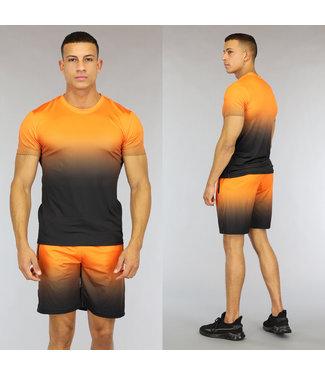 NEW0807 Oranje Heren Trainingstenue met Stippenpatroon
