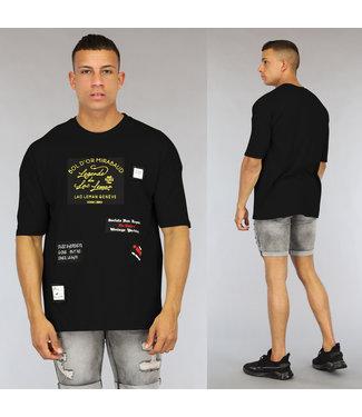NEW0807 Zwart Oversized Heren Shirt met Emblemen