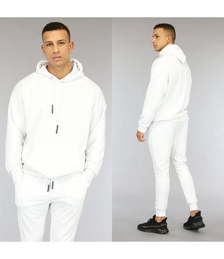 NEW0309 Basic Witte Heren Hoodie