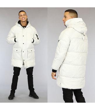 NEW0110 Lange Off-White Heren Winterjas met Capuchon