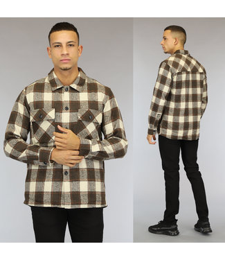 NEW0110 Bruin Flanellen Heren Houthakkers Overshirt