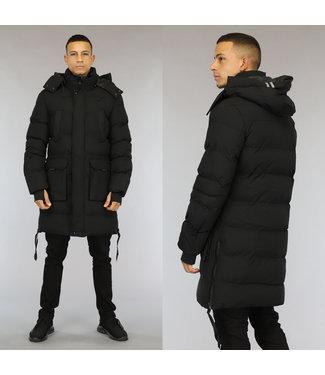 NEW0110 Lange Zwarte Gewatteerde Heren Winterjas