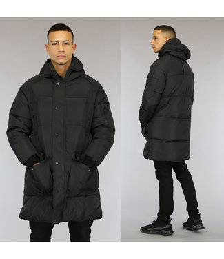 NEW0110 Lange Zwarte Heren Winterjas met Capuchon