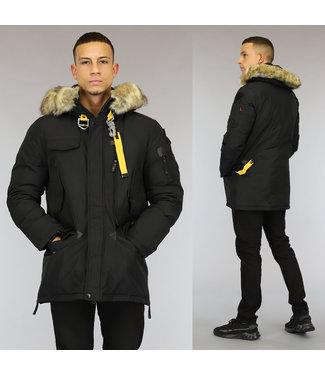 NEW0110 Zwarte Heren Winterjas met Bont en Haaksluiting