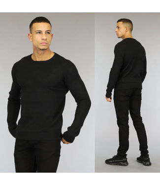 NEW0110 Basic Zwarte Gebreide Heren Trui