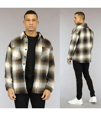 NEW1510 Tweed Heren Overshirt met Beige Blokpatroon