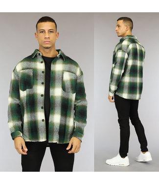 NEW1510 Tweed Heren Overshirt met Groen Blokpatroon