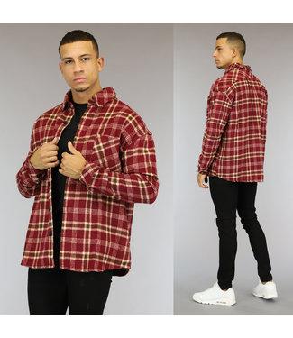 NEW1510 Rood Flanellen Heren Blok Overshirt