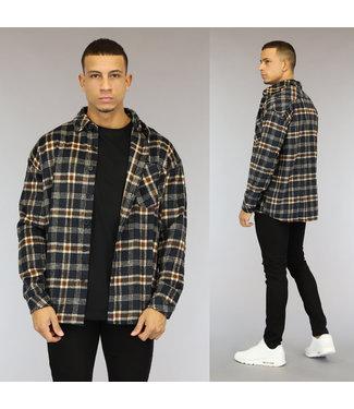 NEW1510 Zwart Flanellen Heren Blok Overshirt