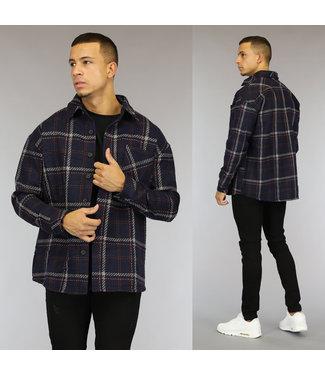 NEW1510 Navy Tweed Heren Overshirt met Gestikt Ruitpatroon