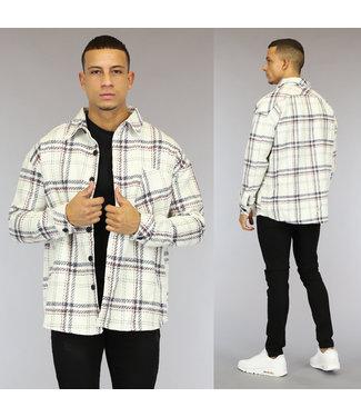 NEW1510 Wit Tweed Heren Overshirt met Gestikt Ruitpatroon