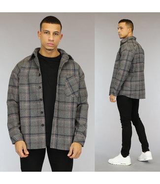 NEW1510 Grijs Tweed Heren Overshirt met Gestikt Ruitpatroon