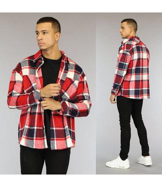 NEW1510 Rood Heren Blok Overshirt met Borstzakken